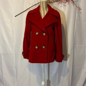 Michael Kors Red Trench Peacoat SZ M